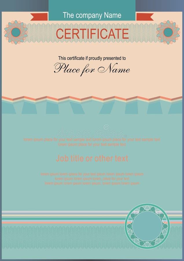 Certificado oficial De Veritcal placa horizontalmente ilustração royalty free