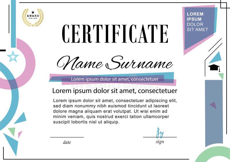 Certificado oficial Molde do negócio Elementos cor-de-rosa azuis do projeto no fundo branco ilustração stock