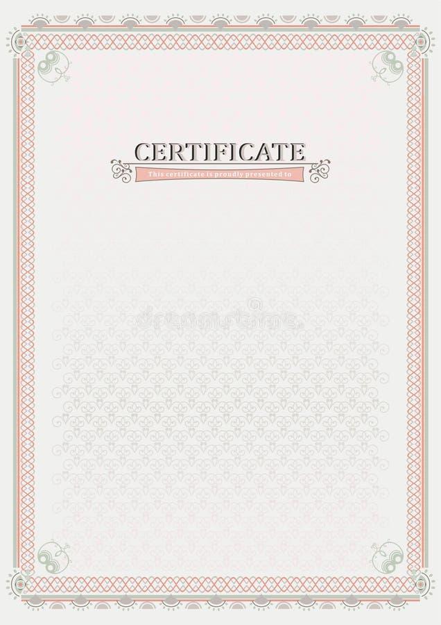 Certificado oficial rosado documento ilustración del vector