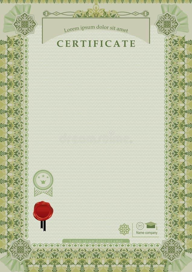 Certificado oficial verde Beira e bolacha largas decorativas verdes ilustração do vetor