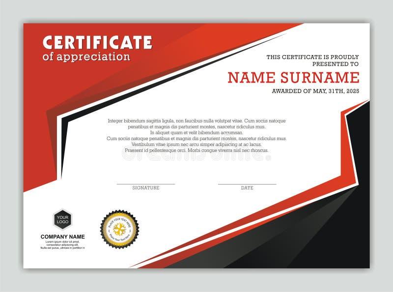Certificado ou diploma moderno com projeto à moda ilustração stock