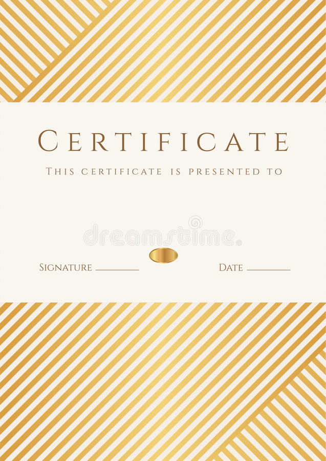 Certificado, Plantilla Del Diploma. Modelo Del Premio Del Oro ...