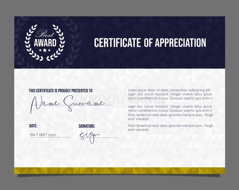 Certificado profissional Diploma do molde com fundo luxuoso e moderno do teste padrão Certificado da realização ilustração stock