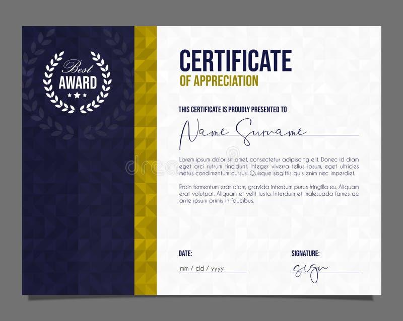Certificado profissional Diploma do molde com fundo luxuoso e moderno do teste padr?o Certificado da realiza??o ilustração stock