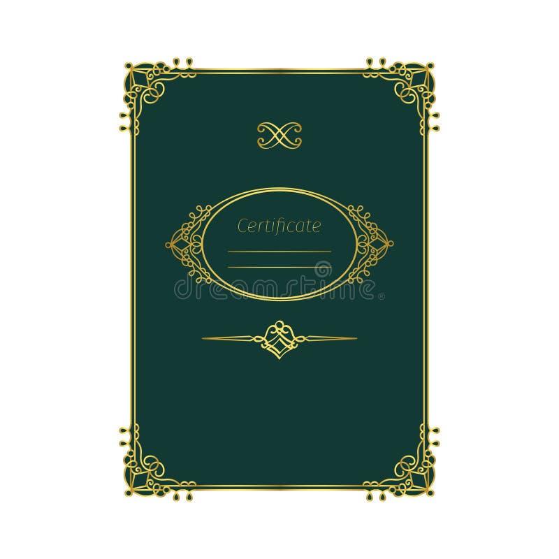 Certificado retro do quadro no fundo verde ilustração do vetor