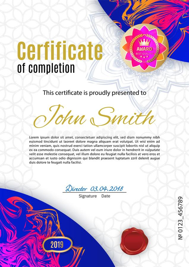 Certificado rosado azul blanco oficial con el emblema rosado del oro Diseño moderno limpio del negocio libre illustration