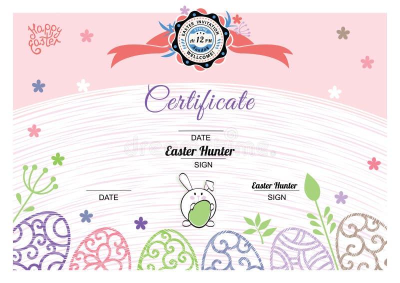 Certificado rosado blanco de Pascua con el conejito, huevos ornamentales multicolores ?rbol congelado solo libre illustration