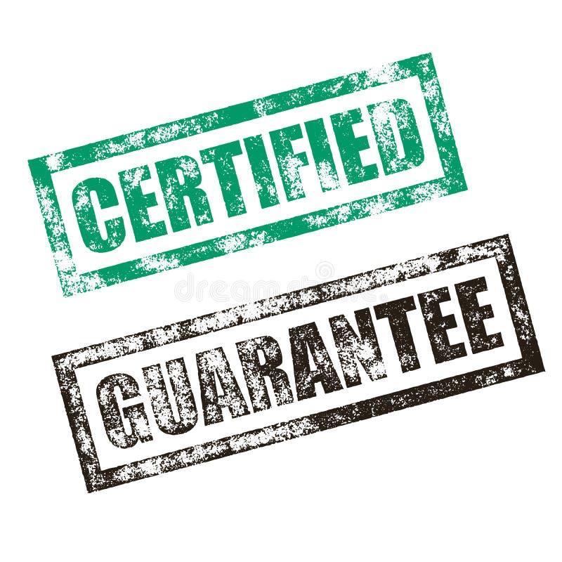 Certificado, selo da garantia Cópia de borracha do selo da tinta do vintage ilustração stock