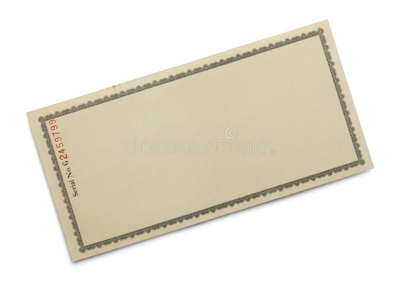 Certificado velho fotografia de stock royalty free