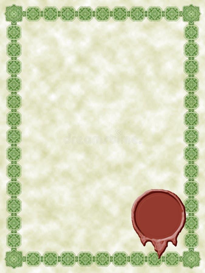 Certificado verde ilustração do vetor