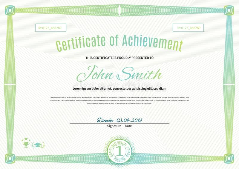 Certificado verde claro oficial del formato a4 con la frontera verde del guilloquis Espacio en blanco simple oficial stock de ilustración