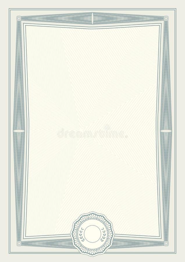 Certificado verde claro oficial del formato a4 con la frontera verde del guilloquis Espacio en blanco vacío simple oficial libre illustration