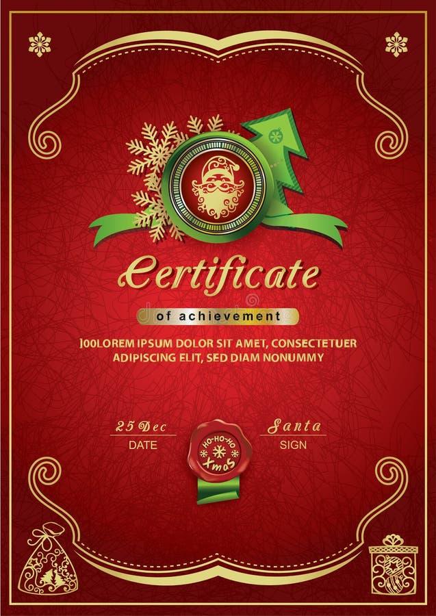 Certificado vermelho do Natal Santa dentro do emblema, fundo do Xmas ilustração do vetor