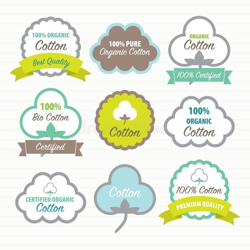 Certificados do algodão Jogo de etiquetas ilustração do vetor