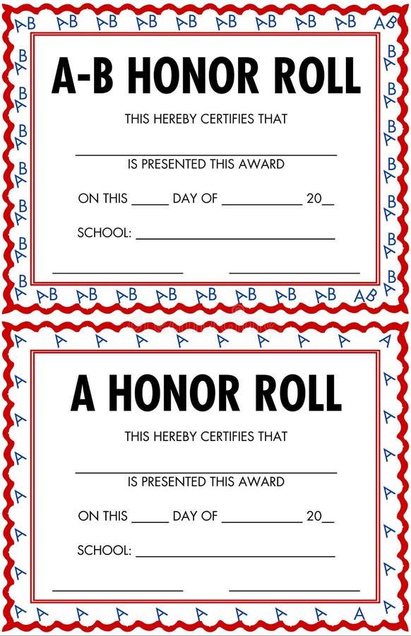 Certificados do rolo de honra ilustração royalty free