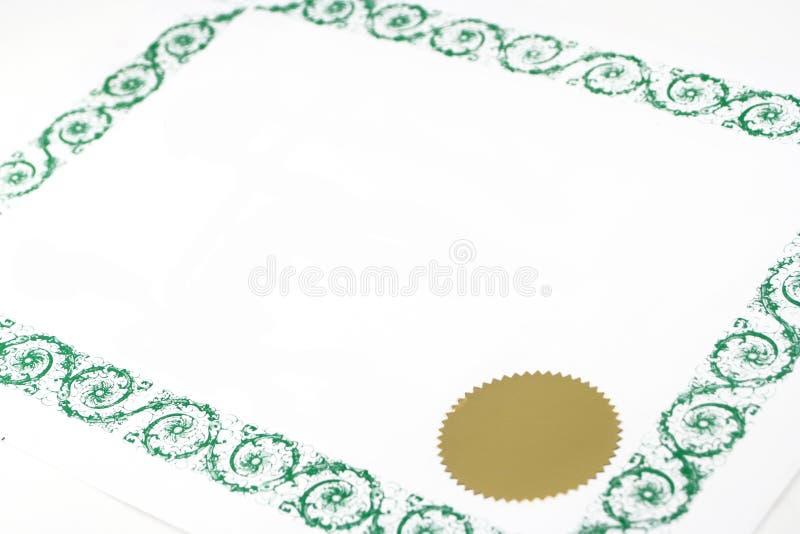 Certificat blanc photographie stock libre de droits