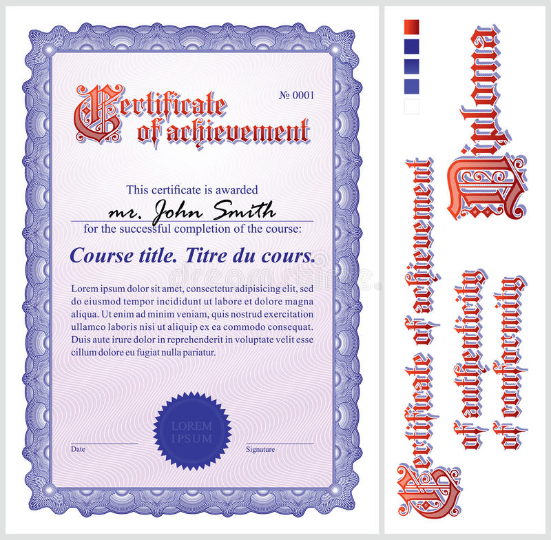 Certificat bleu descripteur vertical illustration de vecteur