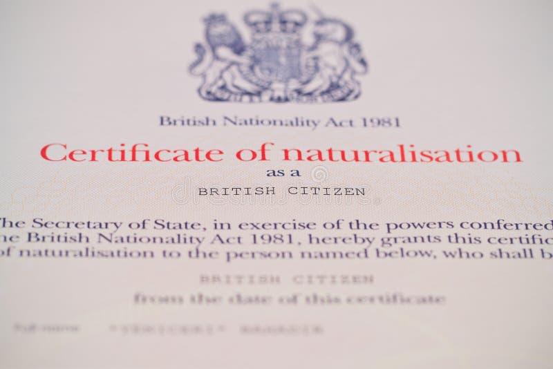 Certificat britannique de citoyenneté photos stock