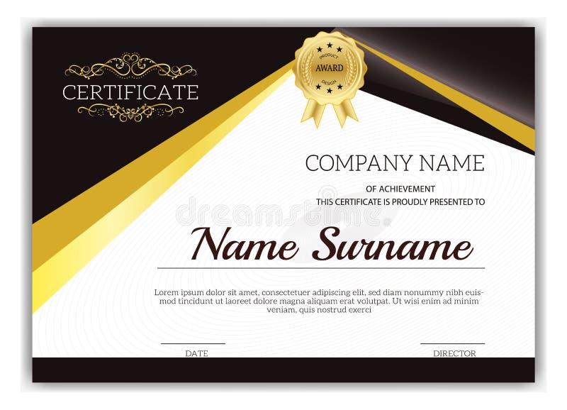 Certificat classique d'or de vintage, certificat de l'accomplissement t image libre de droits