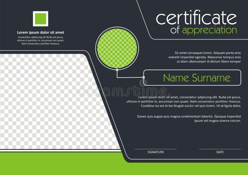 Certificat - conception moderne de style de diplôme illustration de vecteur