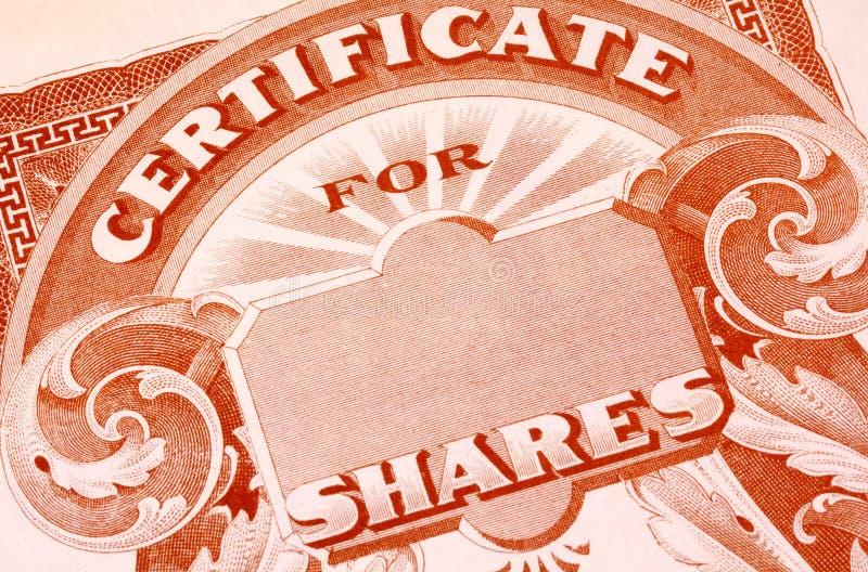 Certificat d'actions image stock