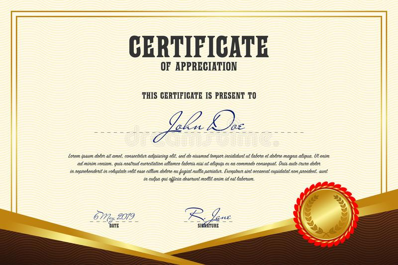 Certificat d'appréciation Calibre de diplôme dans la rétro conception Vecteur illustration libre de droits