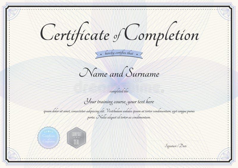 Certificat de calibre d'achèvement dans le vecteur avec le fleuriste illustration stock