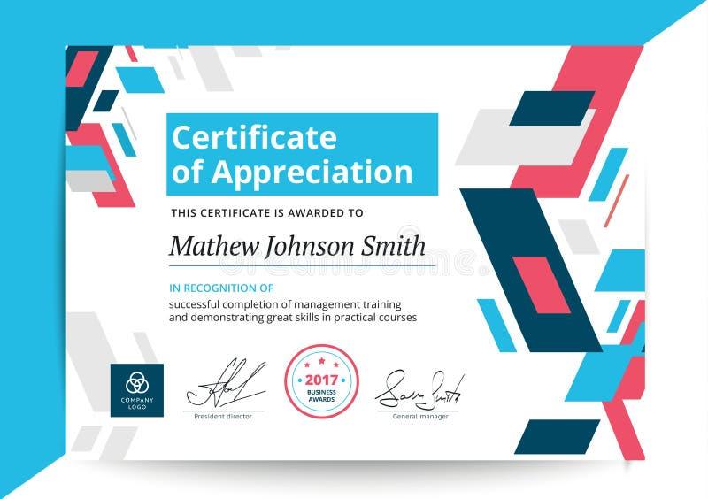 Certificat de calibre d'appréciation dans la conception moderne Business illustration stock
