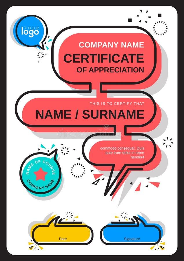 Certificat de calibre d'appr?ciation coloré moderne avec symbole graphique à traits noir illustration libre de droits