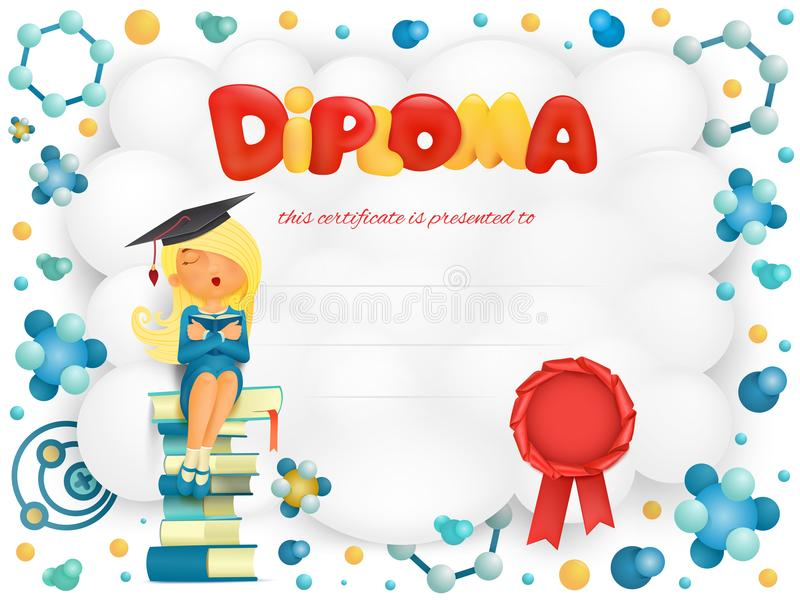 Certificat de calibre de diplôme avec la fille d'étudiant s'asseyant sur des livres illustration libre de droits