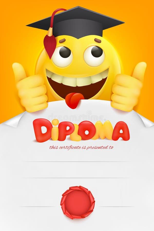 download certificat de calibre de diplme avec le personnage de dessin anim jaune de smiley d - Dessin Avec Emoji