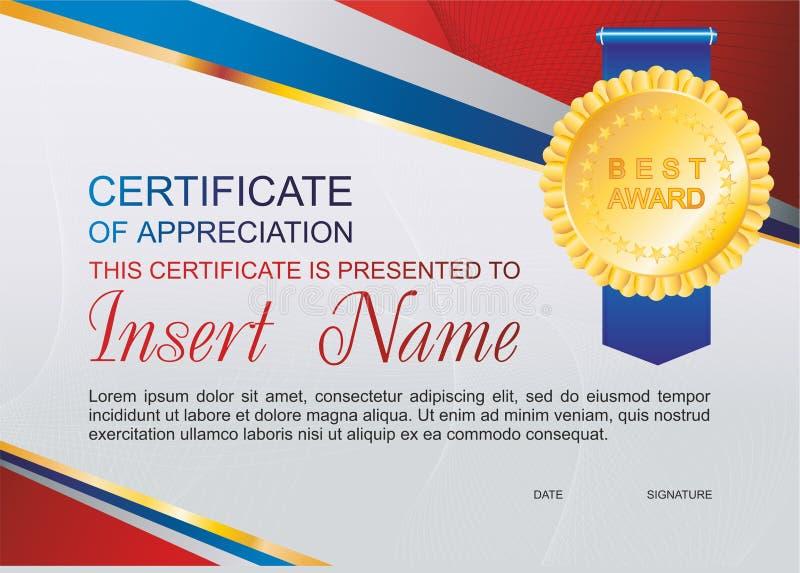 Certificat de calibre de vecteur d'appréciation avec le modèle rayé coloré et d'endroit pour le texte Conception utilisable pour  images libres de droits