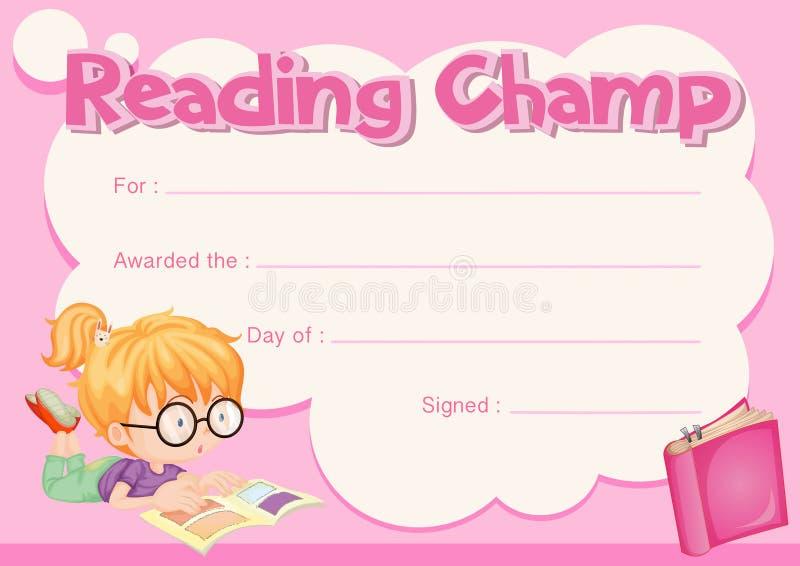 Certificat de champion de lecture avec le livre de lecture de fille illustration libre de droits