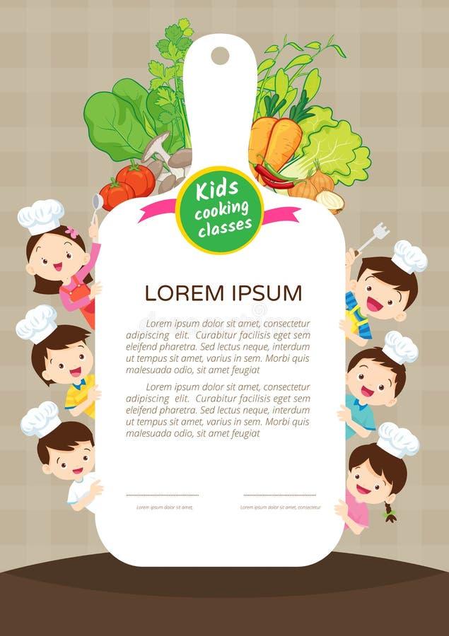 Cours de cuisine d 39 enfants illustration de vecteur - Cours de cuisine enfant ...