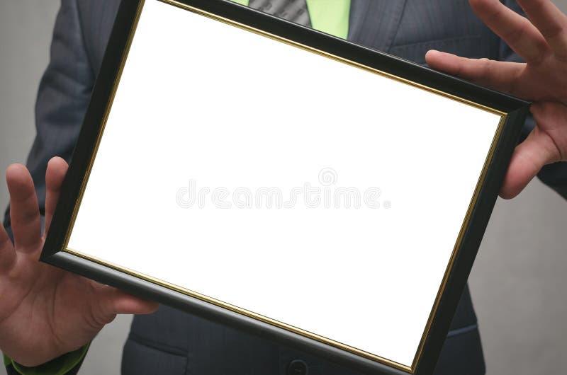 Certificat de diplôme de la meilleure moquerie de travailleur ou de directeur  Fermez-vous vers le haut de la photo photo stock