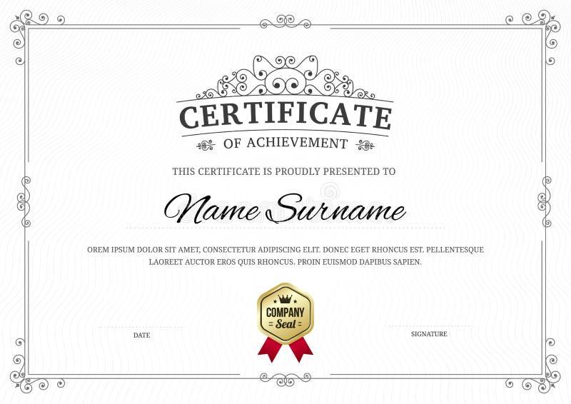 Certificat de fond de calibre d'accomplissement illustration de vecteur