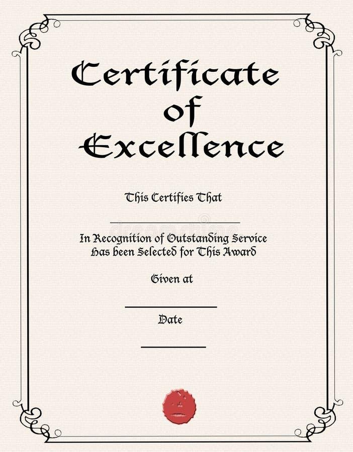 Certificat de l'excellence image libre de droits