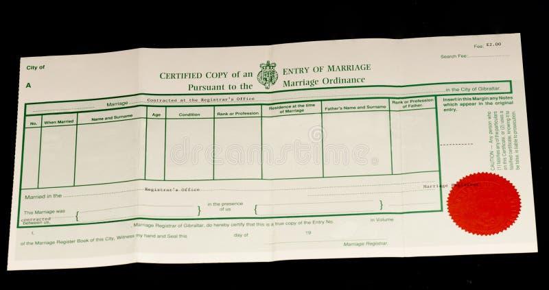 Certificat de mariage britannique photographie stock libre de droits