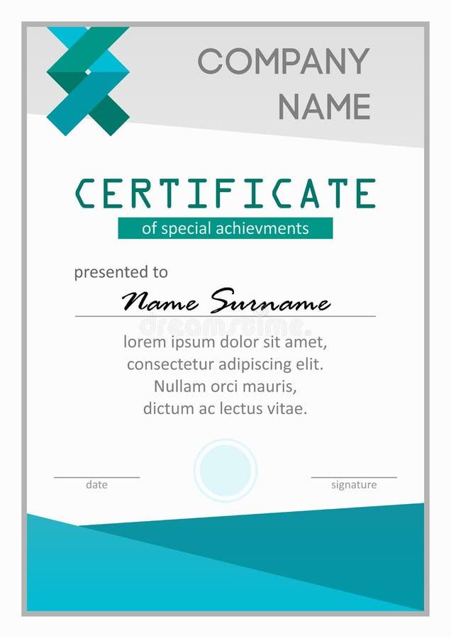 Certificat des accomplissements spéciaux images libres de droits