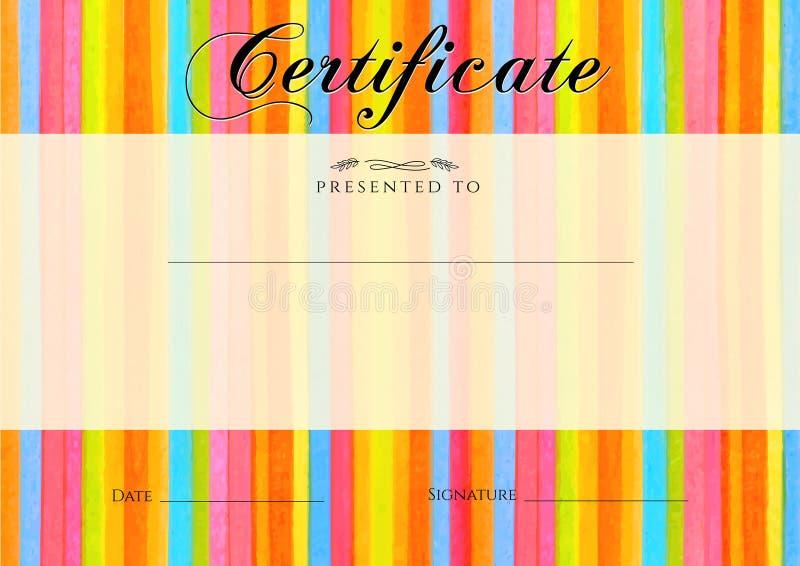 Certificat, diplôme de l'achèvement avec le fond rayé coloré (de frontière de rayures) Aquarelle de vecteur avec la ligne modèle  illustration libre de droits