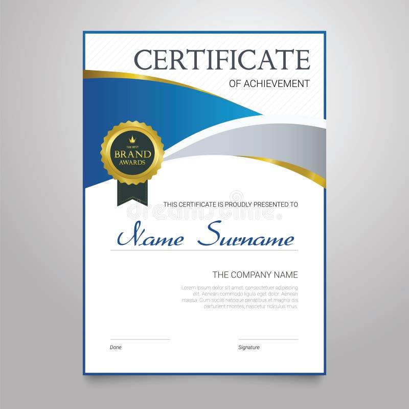 Certificat - document élégant vertical de vecteur illustration de vecteur
