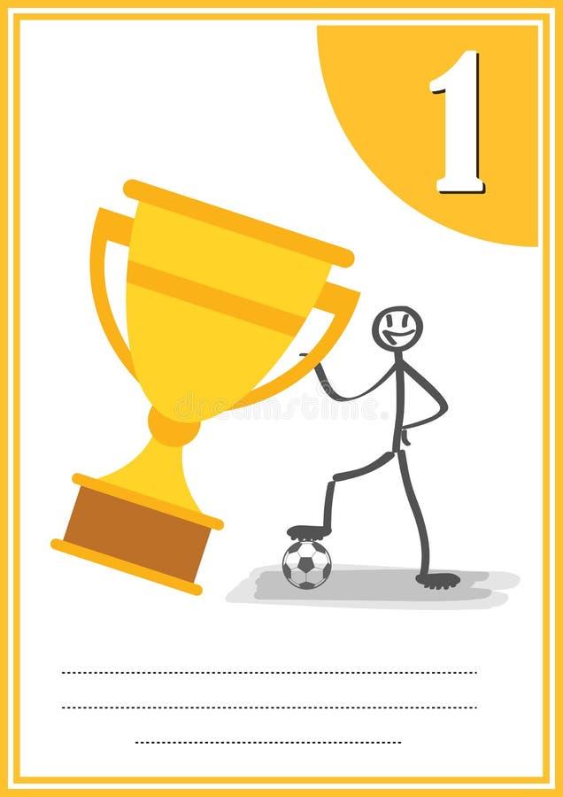 Certificat footbal moderne avec l'endroit pour votre contenu, pour la première place d'enfants illustration stock