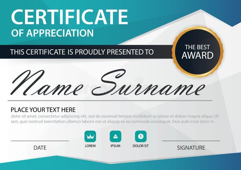 Certificat horizontal d'élégance bleue de polygone avec l'illustration de vecteur, calibre blanc de certificat de cadre avec prop illustration libre de droits