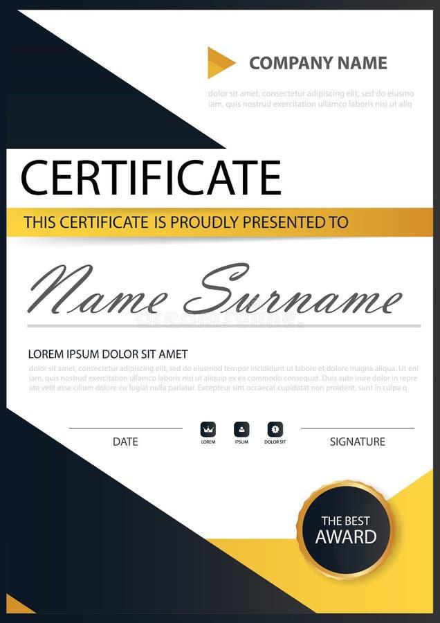 Certificat horizontal d'élégance noire jaune avec l'illustration de vecteur, calibre blanc de certificat de cadre avec propre et  illustration de vecteur