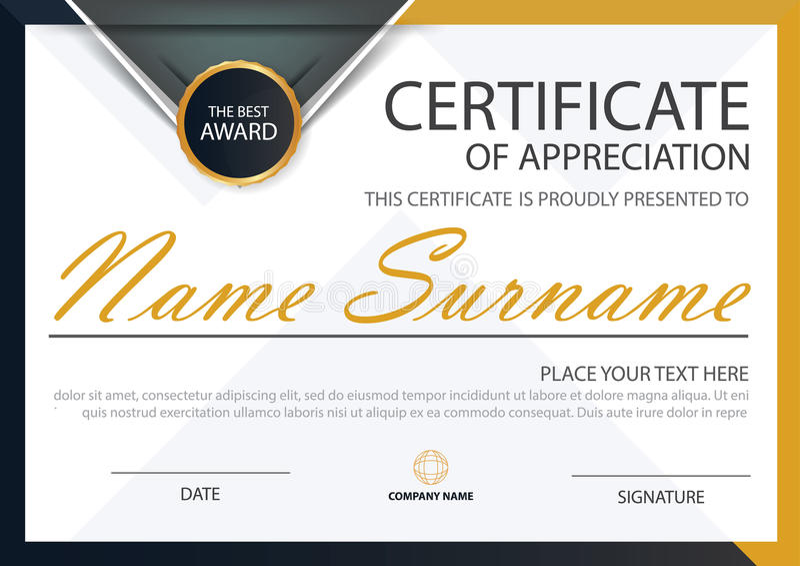 Certificat horizontal d'élégance noire jaune avec l'illustration de vecteur, calibre blanc de certificat de cadre avec propre et  illustration stock