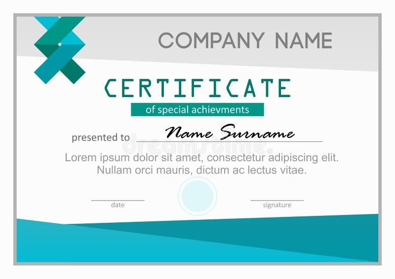 Certificat ou diplôme des accomplissements spéciaux images libres de droits