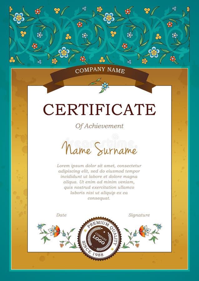 Certificat pré-fait par cru de vecteur dans le style oriental illustration libre de droits