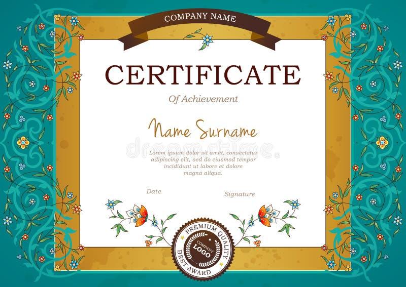 Certificat pré-fait par cru de vecteur dans le style oriental illustration stock