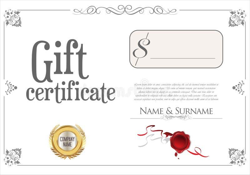 Certificat-prime avec le joint d'or et la frontière de conception illustration libre de droits