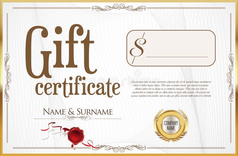 Certificat-prime avec le joint d'or et la frontière de conception illustration stock